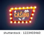the word casino  on a retro... | Shutterstock .eps vector #1223403460
