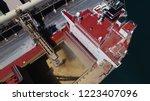Wide Drone Shot Of Ship Loadin...