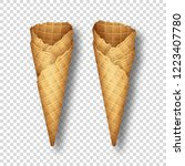 set of empty ice cream waffle... | Shutterstock .eps vector #1223407780