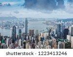 hongkong city skyline  vitoria... | Shutterstock . vector #1223413246
