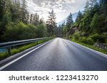 the highway is in green forest. | Shutterstock . vector #1223413270