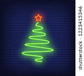 fir tree with star on top neon... | Shutterstock .eps vector #1223415346