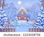 winter foggy forest landscape... | Shutterstock .eps vector #1223428756