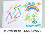 kid doodle of summer raining... | Shutterstock . vector #1223439070