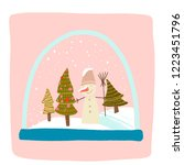 a magical snow globe inside is... | Shutterstock .eps vector #1223451796
