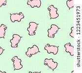 piggy bank doodle on seamless... | Shutterstock .eps vector #1223451973