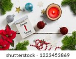 tear off calendar surrounded by ... | Shutterstock . vector #1223453869
