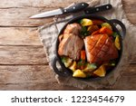 tasty crispy pork baked in beer ... | Shutterstock . vector #1223454679