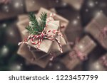 small gift box on top of a pile ... | Shutterstock . vector #1223457799