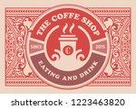 vintage coffee label. vector... | Shutterstock .eps vector #1223463820