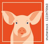 pink pig in flat style  a... | Shutterstock .eps vector #1223470063