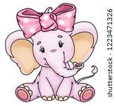 vector cute baby elephant.   | Shutterstock .eps vector #1223471326