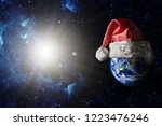 the earth is wearing a hat for...   Shutterstock . vector #1223476246