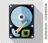 hard disk drive or hdd icon in... | Shutterstock .eps vector #1223483236