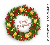 christmas wreath of realistic... | Shutterstock .eps vector #1223508346