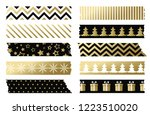 black and gold christmas washi... | Shutterstock .eps vector #1223510020