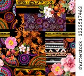 seamless ethnic ornamental... | Shutterstock . vector #1223517463