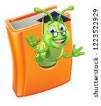 a cute teacher bookworm... | Shutterstock .eps vector #1223522929