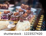 chocolate cakes in the cafe | Shutterstock . vector #1223527420