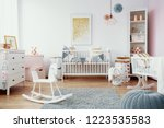 bright baby room with white... | Shutterstock . vector #1223535583