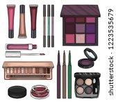 sketch set of makeup products | Shutterstock .eps vector #1223535679