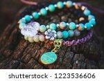 three bracelets with gemstone... | Shutterstock . vector #1223536606