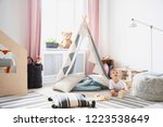 happy child playing on the... | Shutterstock . vector #1223538649