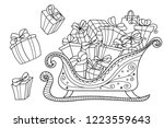 christmas gifts on a santa's... | Shutterstock .eps vector #1223559643