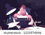 screenwriter typing on vintage... | Shutterstock .eps vector #1223574046