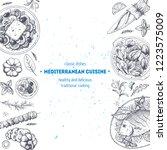 mediterranean food. top view... | Shutterstock .eps vector #1223575009