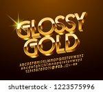 vector glossy 3d font. golden... | Shutterstock .eps vector #1223575996