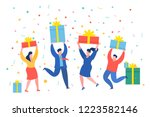 funny mini business people... | Shutterstock .eps vector #1223582146