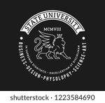 state university badge white on ... | Shutterstock .eps vector #1223584690