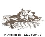 lonely country cottage | Shutterstock .eps vector #1223588473