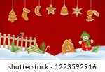 christmas winter snow covered... | Shutterstock . vector #1223592916