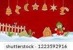 christmas winter snow covered... | Shutterstock . vector #1223592916