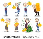 happy aged people with money....   Shutterstock .eps vector #1223597713