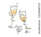 happy new year vector greeting... | Shutterstock .eps vector #1223600713