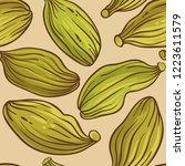 cardamom seeds vector pattern   Shutterstock .eps vector #1223611579
