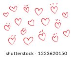 vector hearts set. hand drawn... | Shutterstock .eps vector #1223620150