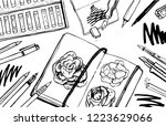 sketch vector artist materials  ... | Shutterstock .eps vector #1223629066