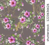 watercolor ornamet of pink...   Shutterstock . vector #1223636626