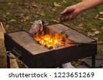 metal brazier with yellow hot... | Shutterstock . vector #1223651269