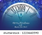 vector 2019 happy new year with ... | Shutterstock .eps vector #1223660590