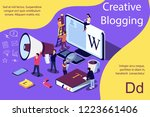 creative blogging isometric... | Shutterstock .eps vector #1223661406