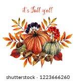 watercolor illustration. autumn.... | Shutterstock . vector #1223666260