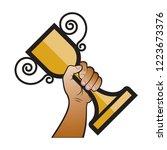 isolated hand raising trophy... | Shutterstock .eps vector #1223673376