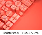 red wrapped up christmas... | Shutterstock . vector #1223677396