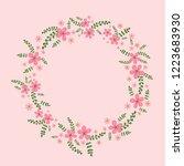 round flower wreath with pink...   Shutterstock .eps vector #1223683930