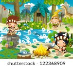 Cartoon Stone Age Scene With...